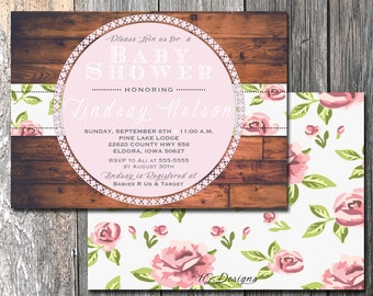 Shabby Chic Baby Shower Invite, Floral Baby Shower, Rustic Baby Shower, Front and Back Baby Shower Invite, Printable Baby Shower Invite