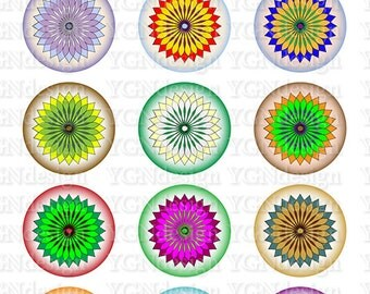 Spinograph Flowers , Bottlecap Images , Instant Download, Digital Collage Sheet , One Inch Circles , Digital Art