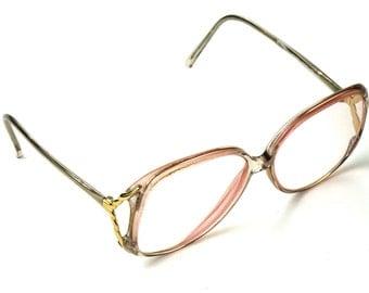 Vintage Tura Pink Eyeglass Frames / Eyeglasses / Glasses - Model 337 TAU - Made in Japan