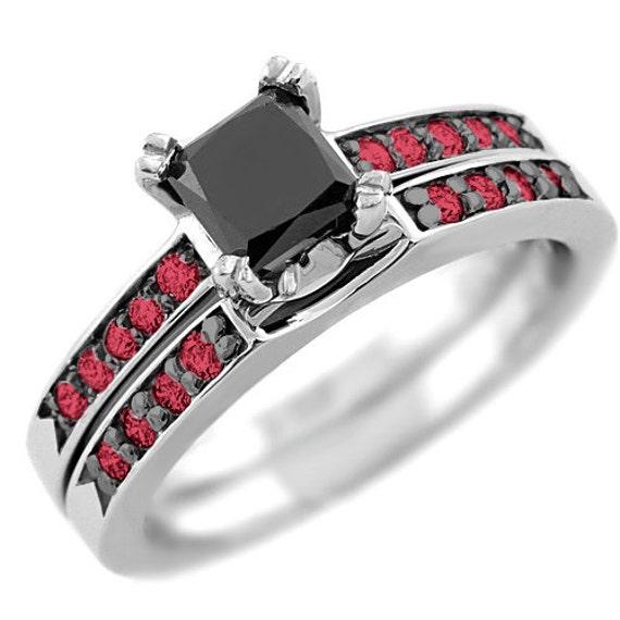 1 37ct Princess Black Diamond & Red Ruby Engagement Ring Set