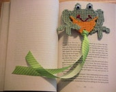 Easter Gift, Frog Bookmark, plastic canvas, needlepoint item, handmade bookmark, green frog, green frog bookmark, gift for book lovers