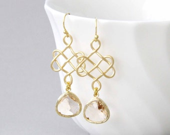 Champagne / Light Peach Glass Stone with Gold Celtic knot Pendant Earrings, Bridal Earrings, Bridesmaid Earrings