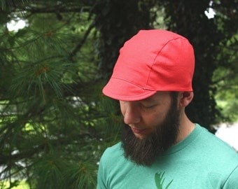 Neon Coral Pink Linen Cycling Cap, Men's and Women's, Lightweight Cap, Men's Cap, Summer, Fall, Bike Hat