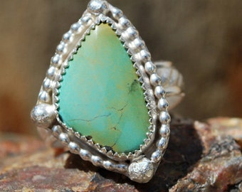 Turquoise Ring - Light Green Turquoise Ring - Sterling Silver Ring - Artisan Jewelry - Silversmith Ring - Southwestern Ring - Size 7.75 Ring