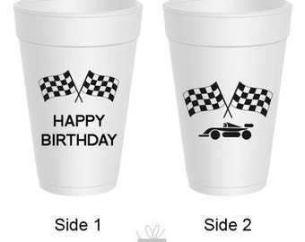 Race Car Happy Birthday!  Styrofoam Cups, 10 count