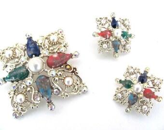 Vintage Gold Beaded Brooch, Earrings Set, 1970's Sarah Coventry Bead, Pearl Brooch, Pin, Clip On Earrings, 1970's Brooch, Earrings