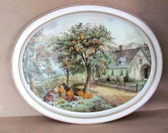 Vintage Fall Tray, 1980's Sunshine Biscuits Metal Tray, Currier & Ives Tray, American Homestead, Decorative Tray, Fall Scene, Decor