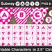 """Printable Cartoon Style Hot Pink Alphabet Chars in 2.5"""" Circles. INSTANT DOWNLOAD Party Banner Alphabet, Clipart, Cupcake Toppers. Pdf & Png"""