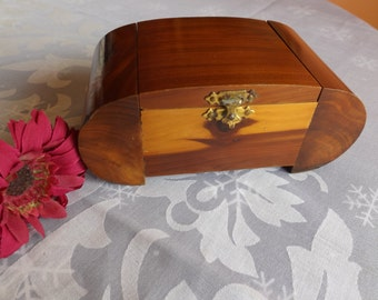 "Wooden cedar footed jewelry box . 5 3/4""/15 cm Wide x 3 1/8""/8 cm deep x 2 3/8 ""/6 cm High. brown ,Treasury box ,gift for her"