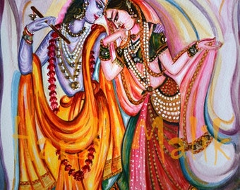 Radha Krishna Painting, Divine Love, Light,  Bright, Peace, bliss, Mystic, Mythical, Indian, Flute Player, Colorful, India, by Harsh Malik