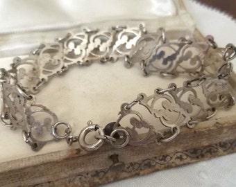 Vintage Sterling Silver Open Work Floral Link Bracelet