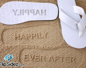 Custom Happily Ever After Flip Flops - Personalized Sand Imprint Sandals for Wedding, Bridal & Honeymoon (check size chart before ordering*