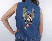 SALE Vintage 90s Harley-Davidson Eagle Design Studded Denim Vest