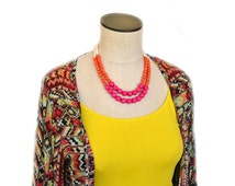hot pink and orange necklace / hot pink beaded necklace / colourful necklace / hot pink bead necklace / summer jewelry