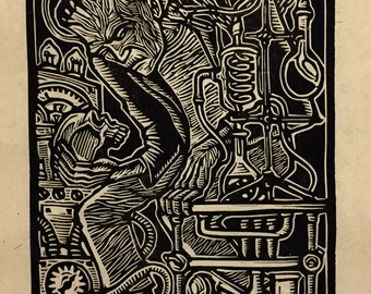Frankenstein Block Print