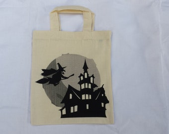 Halloween cotton tote bag-One Witch Halloween Tote Bag - Trick or Treat Halloween Candy Bag