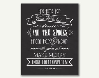 Halloween Print - Instant Download - Witches Dance - 8x10 - 16x20