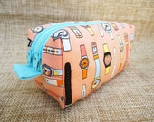 Custom Order for lorivw: Padded Double Zipper Pouch with Watches pattern Fabric