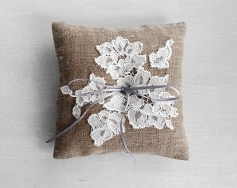 Bridal Linen and Floral Lace Ring Bearer Pillow / Rustic Wedding Accessory / Natural Linen and Ivory Lace Pillow / Made to Order