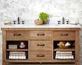 Reclaimed & Barnwood Lookalikes -  Double or Single Vanity, Media Console, Sofa or Entry Table, Barn doors with track - Custom design