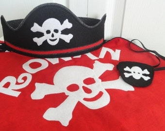 Pirate Cape, hat, and eye patch for kids// Gifts for Boys// Gifts for Girls