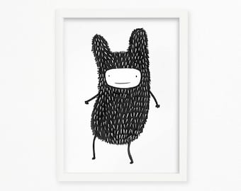 rabbit monster printable wall art
