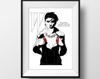 SUPER SALE*** Rooney Mara -  W Magazine Cover Graphic Illustration A4 - Art Print