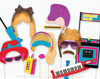 1980s Party Photo Booth Props, 1980's Photobooth Props, Cassette Tape, Boombox, Mullet, Arcade Game, Mohawk, Feathered Hair, 80s, Foto Booth