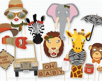 Safari Baby Shower Photo Booth Props, Baby Shower, Safari Party, Foto Booth, Photobooth Props, Adventure, Explorer, Africa, Animal Mask