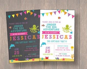 Under the Sea Birthday Invitation, Birthday Invitation, Girl Birthday Party, Digital file