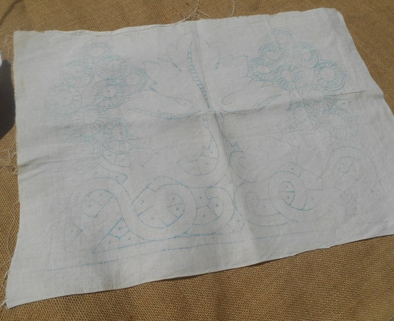 Antique embroidery pattern linen french fabric leaf