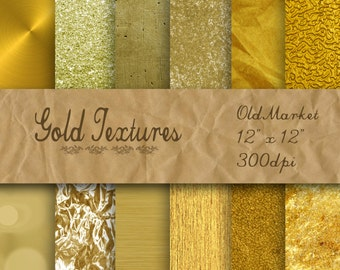50% Off Sale -Gold Digital Paper - Gold Textures - Gold Backgrounds -  12 Designs - 12in x 12in - Commercial Use -  INSTANT DOWNLOAD