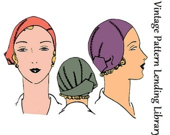 1920s Ladies Close Fitting Cloche Hat - Reproduction Sewing Pattern #H1010