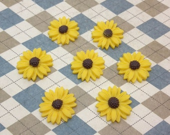 20pc yellow color resin Sunflower charms Flower Cabochons Resin Flowers 20mm