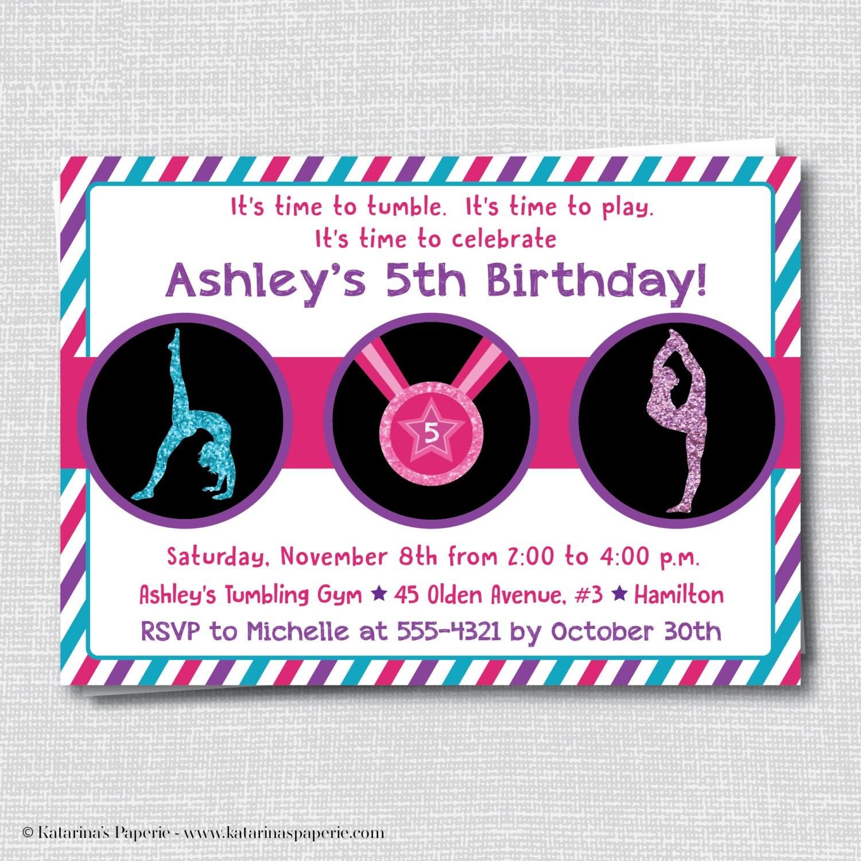 Glitter Gymnastics Birthday Invitation Gymnastics Theme