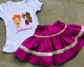 Hercules and Meg Inspired Cutie Outfit.  Shirt + Twirl Skirt.  6m-12yrs.  By Hoot n Hollar Children's Clothing