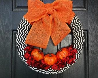 Orange and Black Pumpkin Wreath for Fall, Halloween Wreath, Thanksgiving Wreath, Orange Burlap Wreath, Fall Chevron Wreath