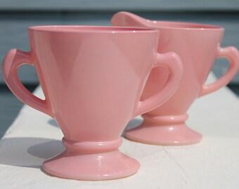 Beautiful Vintage Pink Ovide Creamer and Sugar Bowl by Hazel Atlas