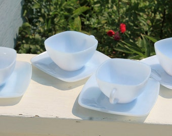 Fabulous Vintage Set of 4 Azurite Charm Cups and Saucers  by Fire King