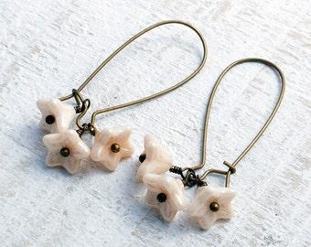 cream triple flower drop czech glass flower earring antiqued brass drop earrings