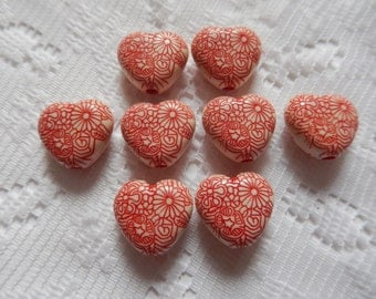 8  Valentine Red & Ivory Cream Etched Ornate Heart Acrylic Beads  16mm