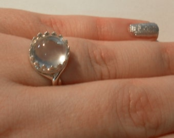 CLEAR BLUE ceylon MOONSTONE sterling silver ring June Birthstone