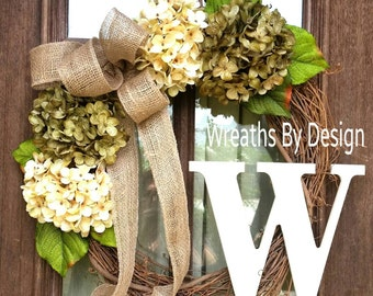 Fall Wreath-Summer Wreath-Front Door Wreath-Home Decor-Housewarming Gift Hydrangea Wreath-monogram Wreath-Fall Wreath-Grapevine Wreath