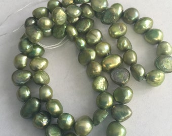 Green Pearl, cultured freshwater, wedding supplies, pearls supplies, YELLOW GREEN pearls, peach pearl, cream pearls (1787KX)