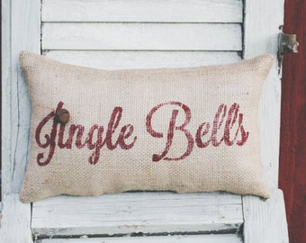 Holiday Pillow Jingle Bells Pillow Christmas Pillow Decor Pillow Decorative Pillow burlap pillow 14x9 accent pillow