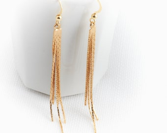 Gold long earrings, Tassel gold earrings, Dangle earrings, Delicate gold earrings, Everyday gold earrings, Fashion jewelry, Birthday gifts