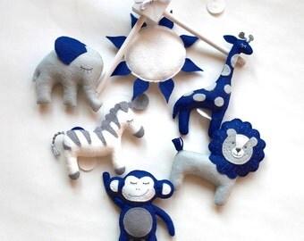 Baby mobile, baby crib mobile, Safari Mobile, Animal mobile, Elephant mobile, lion, giraffe, sun, baby shower gift, navy blue mobile