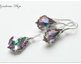Silver Jewelry Set with Swarovski Elements  Baroque 22mm Crystal Vitrail Light
