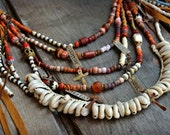 Seven Deadly sins Necklace, Silver tags, Cowrie shell, trade beads, Leather Fringe necklace. Long Layered necklace, boho. hippie, Gypsy..