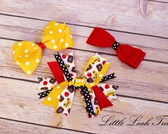 Back to School Hair Bow Set - Set of 3 Hair Bows, Fall Hair Accessories for Girls, Yellow Red Black White Hair Bows